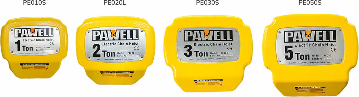 Polipastos eléctricos Pawell de diferentes capacidades